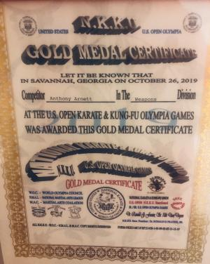 Gold medal certificate 1