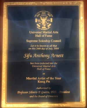Sifu Anthony Arnett Universal Hall of Fame