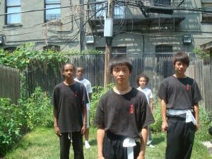 Teen classes in backyard on nice day