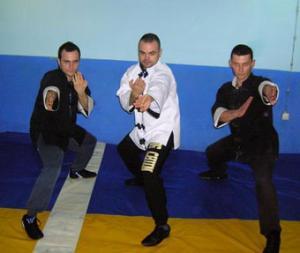 Sifu Nenad Koviljac with students Radoslav Curcic (left) and Arsenije Jelovac (r